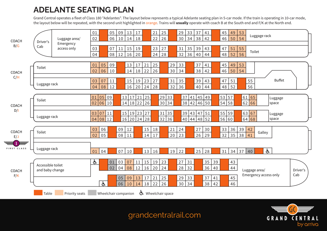 Grand Central seating plan