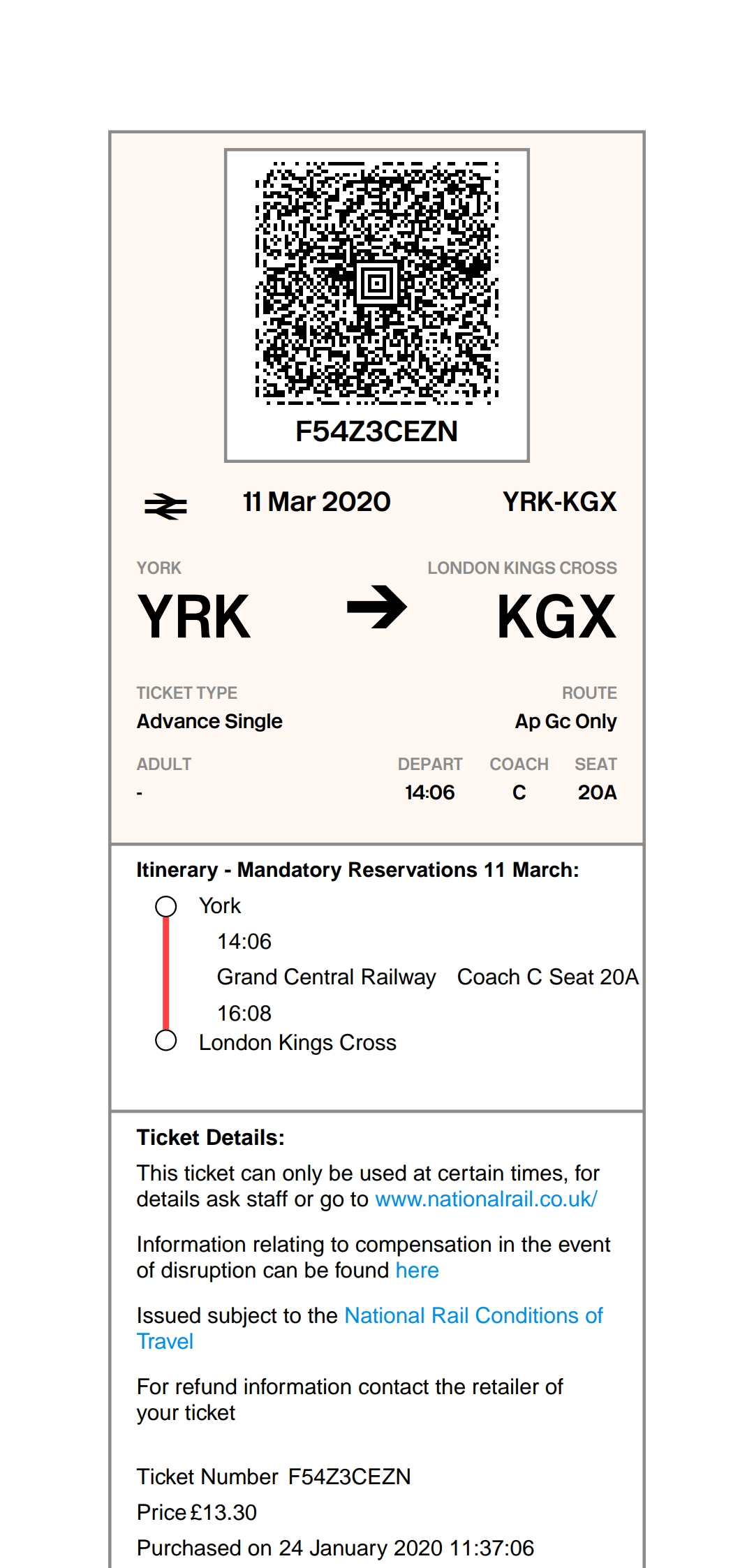 PDF display of eticket