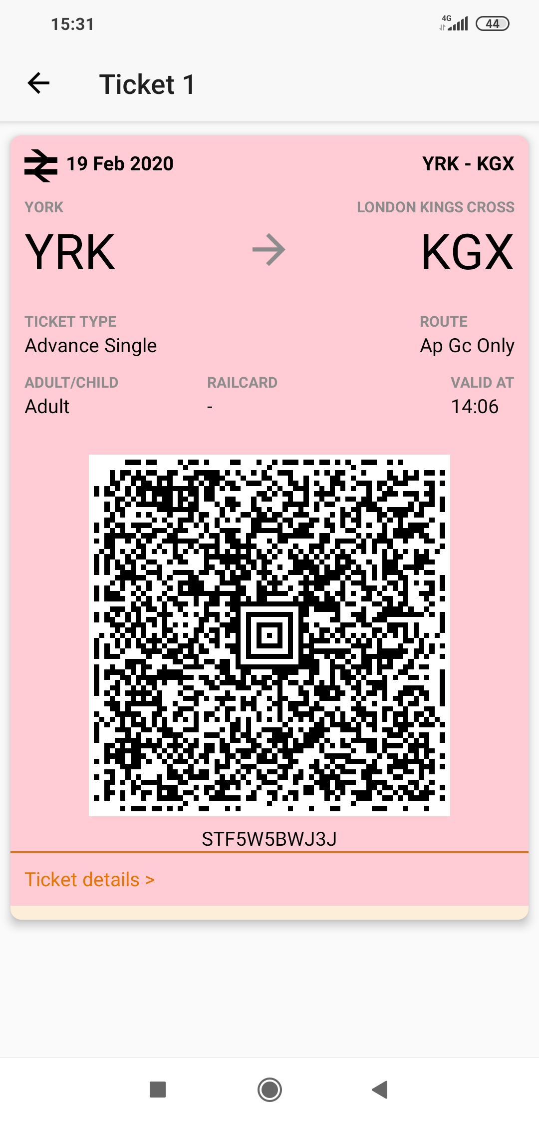In-app display of eticket